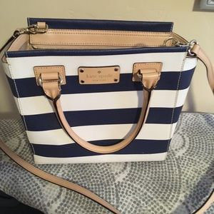 Kate Spade blue and white striped purse.